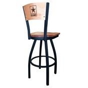 L038 - Black Wrinkle U.S. Army Swivel Bar Stool with Laser Engraved Back by Holland Bar Stool Co.