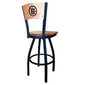 L038 - Black Wrinkle Boston Bruins Swivel Bar Stool with Laser Engraved Back by Holland Bar Stool Co.