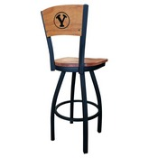 L038 - Black Wrinkle Brigham Young Swivel Bar Stool with Laser Engraved Back by Holland Bar Stool Co.