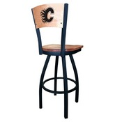 L038 - Black Wrinkle Calgary Flames Swivel Bar Stool with Laser Engraved Back by Holland Bar Stool Co.