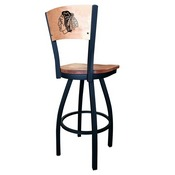 L038 - Black Wrinkle Chicago Blackhawks Swivel Bar Stool with Laser Engraved Back by Holland Bar Stool Co.
