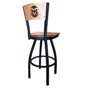 L038 - Black Wrinkle Colorado State Swivel Bar Stool with Laser Engraved Back by Holland Bar Stool Co.