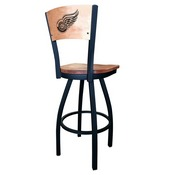 L038 - Black Wrinkle Detroit Red Wings Swivel Bar Stool with Laser Engraved Back by Holland Bar Stool Co.