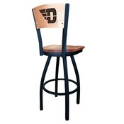 L038 - Black Wrinkle University of Dayton Swivel Bar Stool with Laser Engraved Back by Holland Bar Stool Co.