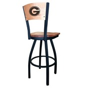 L038 -Black Wrinkle Georgia G Swivel Bar Stool with Laser Engraved Back by Holland Bar Stool Co.