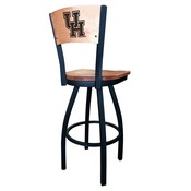 L038 - Black Wrinkle Houston Swivel Bar Stool with Laser Engraved Back by Holland Bar Stool Co.