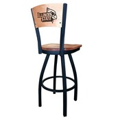 L038 - Black Wrinkle Illinois State Swivel Bar Stool with Laser Engraved Back by Holland Bar Stool Co.