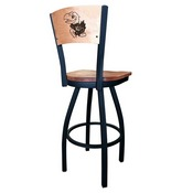 L038 - Black Wrinkle Kansas Swivel Bar Stool with Laser Engraved Back by Holland Bar Stool Co.