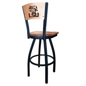 L038 - Black Wrinkle Louisiana State Swivel Bar Stool with Laser Engraved Back by Holland Bar Stool Co.