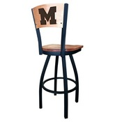 L038 - Black Wrinkle Michigan Swivel Bar Stool with Laser Engraved Back by Holland Bar Stool Co.