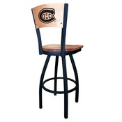 L038 - Black Wrinkle Montreal Canadiens Swivel Bar Stool with Laser Engraved Back by Holland Bar Stool Co.