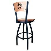 L038 - Black Wrinkle Pittsburgh Penguins Swivel Bar Stool with Laser Engraved Back by Holland Bar Stool Co.