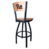 L038 - Black Wrinkle Pitt Swivel Bar Stool with Laser Engraved Back by Holland Bar Stool Co.