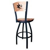 L038 - Black Wrinkle San Jose Sharks Swivel Bar Stool with Laser Engraved Back by Holland Bar Stool Co.