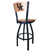 L038 -Black Wrinkle Kentucky UK Swivel Bar Stool with Laser Engraved Back by Holland Bar Stool Co.