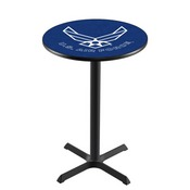 L211 - Black Wrinkle U.S. Air Force Pub Table by Holland Bar Stool Co.