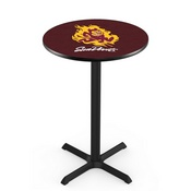 L211 - Black Wrinkle Arizona State Pub Table with Sparky Logo by Holland Bar Stool Co.