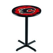 L211 - Black Wrinkle Calgary Flames Pub Table by Holland Bar Stool Co.