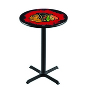 L211 - Black Wrinkle Chicago Blackhawks Pub Table by Holland Bar Stool Co.