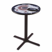 L211 - Black Wrinkle Colorado Avalanche Pub Table by Holland Bar Stool Co.