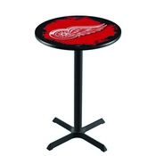 L211 - Black Wrinkle Detroit Red Wings Pub Table by Holland Bar Stool Co.