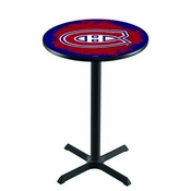 L211 - Black Wrinkle Montreal Canadiens Pub Table by Holland Bar Stool Co.