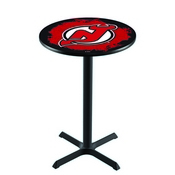 L211 - Black Wrinkle New Jersey Devils Pub Table by Holland Bar Stool Co.