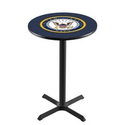 L211 - Black Wrinkle U.S. Navy Pub Table by Holland Bar Stool Co.
