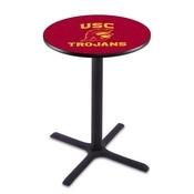 L211 - Black Wrinkle USC Trojans Pub Table by Holland Bar Stool Co.