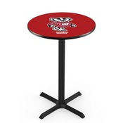 L211 - Black Wrinkle Wisconsin Badger Pub Table by Holland Bar Stool Co.