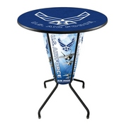 Lighted L218 - 42 Black Air Force Pub Table by Holland Bar Stool Co.