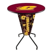 Lighted L218 - 42 Black Central Michigan Pub Table by Holland Bar Stool Co.
