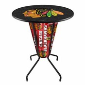 Lighted L218 - 42 Black Chicago Blackhawks Pub Table by Holland Bar Stool Co.