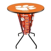 Lighted L218 - 42 Black Clemson Pub Table by Holland Bar Stool Co.