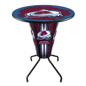 Lighted L218 - 42 Black Colorado Avalanche Pub Table by Holland Bar Stool Co.