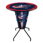 Lighted L218 - 42 Black Columbus Blue Jackets Pub Table by Holland Bar Stool Co.