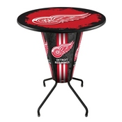 Lighted L218 - 42 Black Detroit Red Wings Pub Table by Holland Bar Stool Co.