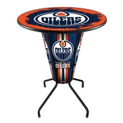Lighted L218 - 42 Black Edmonton Oilers Pub Table by Holland Bar Stool Co.