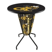 Lighted L218 - 42 Black Georgia Tech Pub Table by Holland Bar Stool Co.