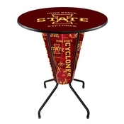 Lighted L218 - 42 Black Iowa State Pub Table by Holland Bar Stool Co.
