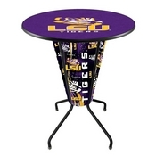 Lighted L218 - 42 Black Louisiana State Pub Table by Holland Bar Stool Co.