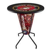 Lighted L218 - 42 Black Marines Pub Table by Holland Bar Stool Co.
