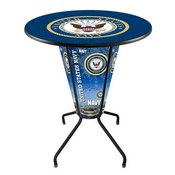 Lighted L218 - 42 Black U.S. Navy Pub Table by Holland Bar Stool Co.