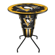 Lighted L218 - 42 Black Pittsburgh Penguins Pub Table by Holland Bar Stool Co.