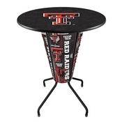 Lighted L218 - 42 Black Texas Tech Pub Table by Holland Bar Stool Co.