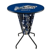 Lighted L218 - 42 Black US Naval Academy (NAVY) Pub Table by Holland Bar Stool Co.