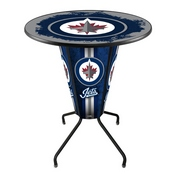 Lighted L218 - 42 Black Winnipeg Jets Pub Table by Holland Bar Stool Co.