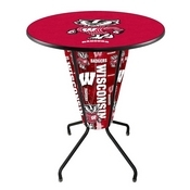 Lighted L218 - 42 Black Wisconsin Badger Pub Table by Holland Bar Stool Co.