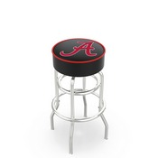 L7C1 - 4 Alabama Cushion Seat with Double-Ring Chrome Base Swivel Bar Stool by Holland Bar Stool Company(ALogo)