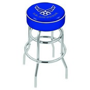 L7C1 - 4 U.S. Air Force Cushion Seat with Double-Ring Chrome Base Swivel Bar Stool by Holland Bar Stool Company